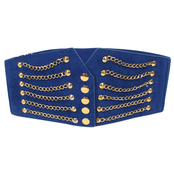 Women Gold Tone Chain Front Elastic High Waist Belt Cinch Blue CC2005